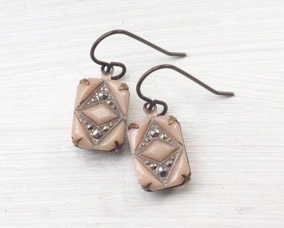 Jahrgang erröten rosa Ohrringe Braut Glas Markasit von mylavaliere