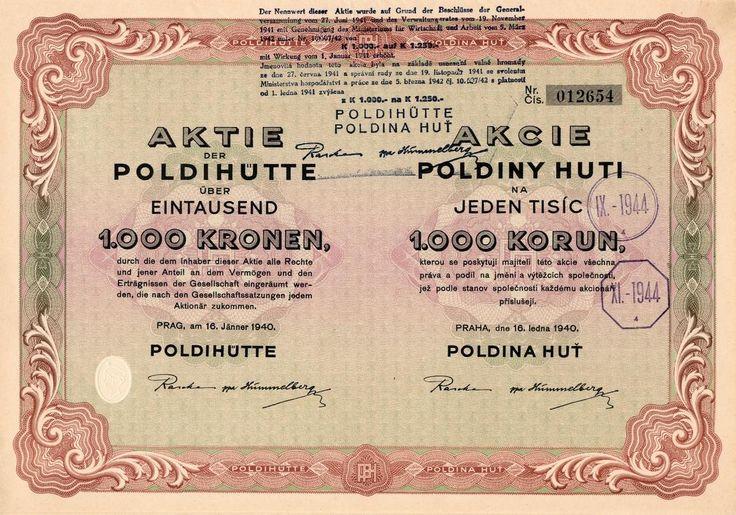 Poldina Huť (Poldihütte). Akcie na 1 000 Korun. Praha, 1940.