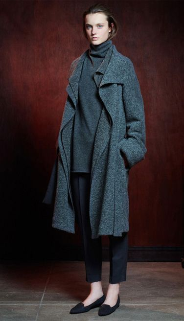 just for funnel - the row, wool longline gray coat, black pants, loafers, simple outfit #minimalist #fashion #style