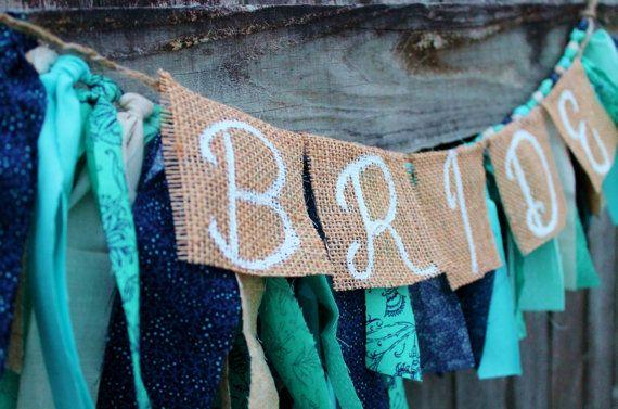 Beach Themed Bridal Fabric Strip Banner for Wedding Shower by KraftinMommy
