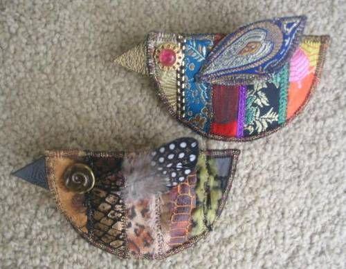 2 bird brooches