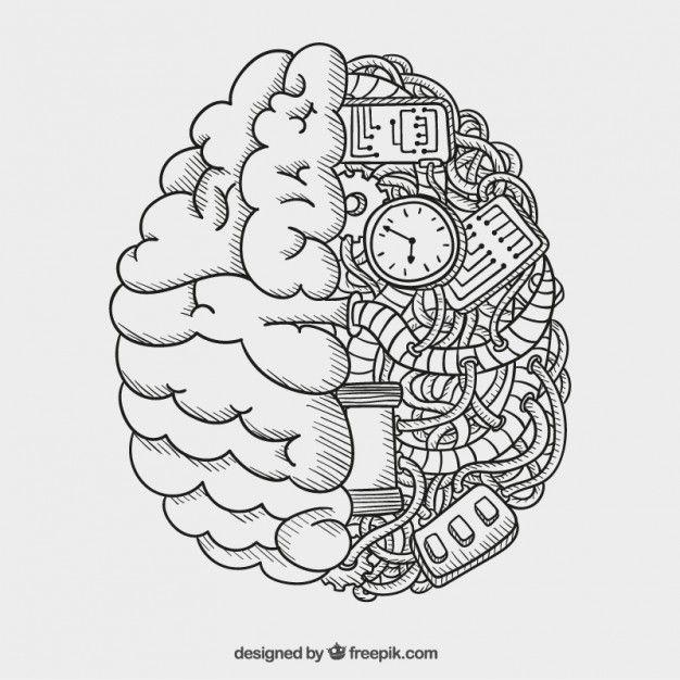 Cerebro mecánico Vector Gratis