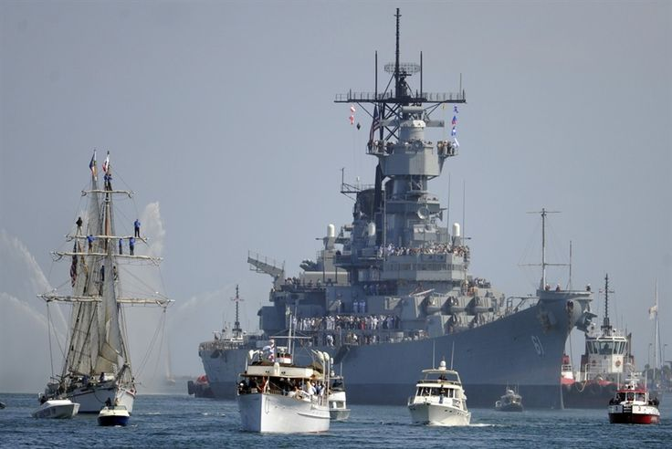 USS Iowa makes final journey to become a floating museum in San Pedra, Calif. The last of the great battleships!