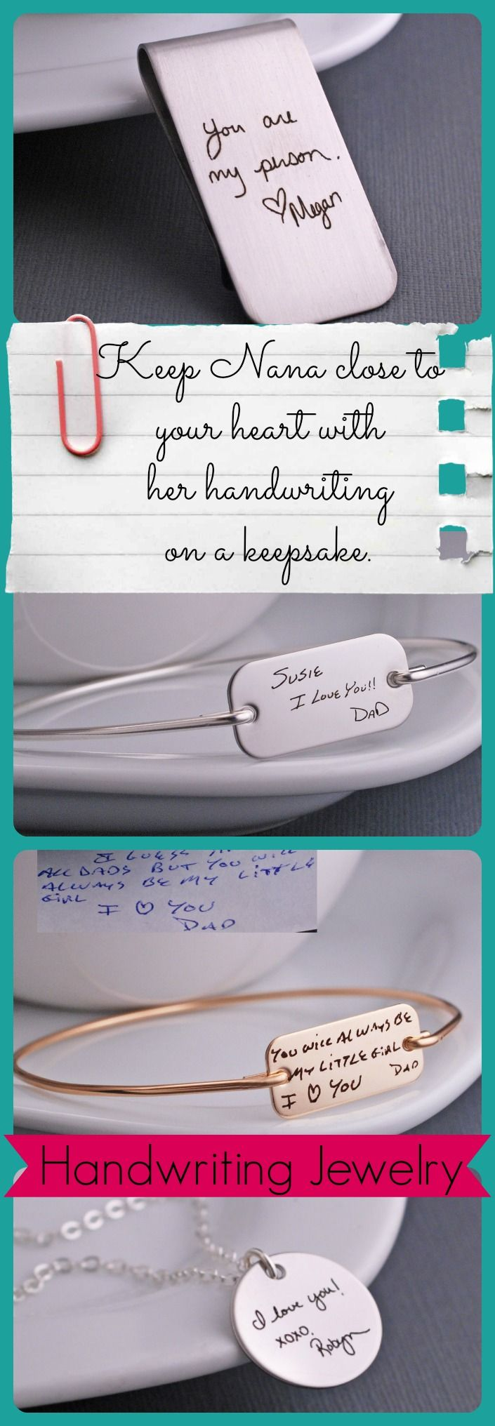 Your actual handwriting on a custom piece of jewelry or keepsake. Whether Grandpa's signature, a note from Nana, or a quick message on a post it, it can be engraved on a custom piece.