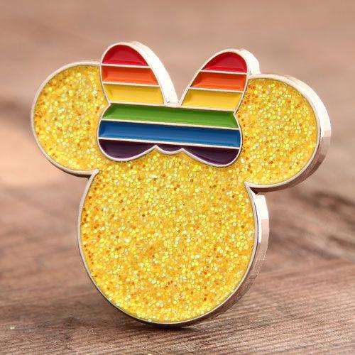 "Minnie Lapel Pins Sample 1""Soft enamel pins, with shinny yellow"