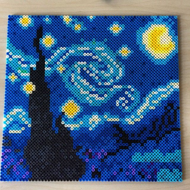 Starry Night (Van Gogh) hama beads by _marcelucky_
