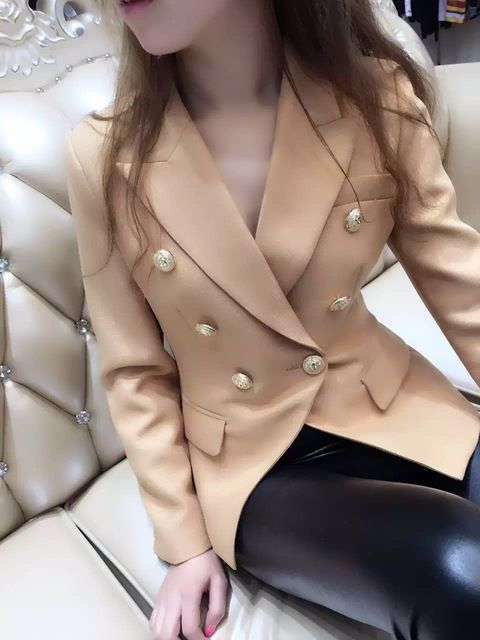 2016 NEW arrive Women's elegant double breasted blazer US $120.00 Specifics GenderWomen Item TypeBlazers DecorationButton Clothing LengthRegular Pattern TypeSolid Closure TypeDouble Breasted Brand Namenew HoodedNo MaterialAcetate CollarNotched Sleeve LengthFull Model NumberT36812  Click to Buy :http://goo.gl/t9O329