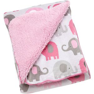 I think this is on my registry Little Bedding by NoJo Elephant Time Velboa Blanket, Pink