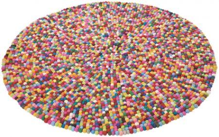 Filzkugel-Teppich 140 Circle 100% Wolle Bobbel Multi