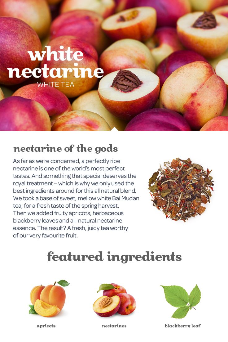 This amazingly fresh and fruity white tea tastes just like biting into a perfectly ripe nectarine.
