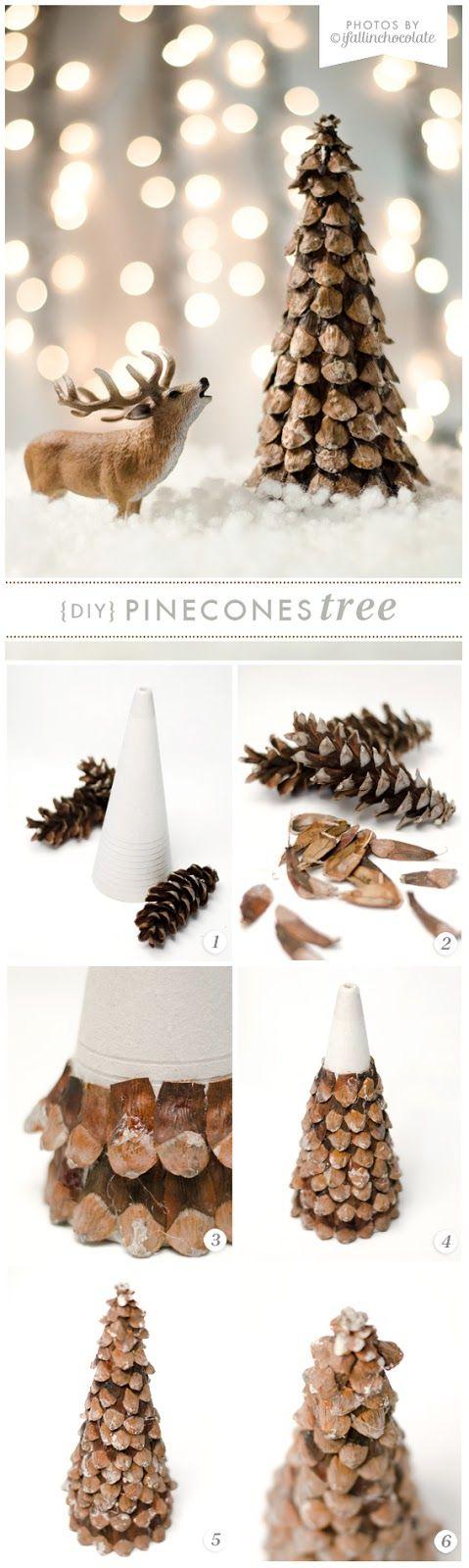 I Fall in Chocolate: DIY PINECONE XMAS TREE - so sweet
