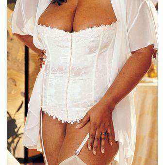 Corset bustier guêpière mariage GRANDE TAILLE en blanc - bestyle29.com