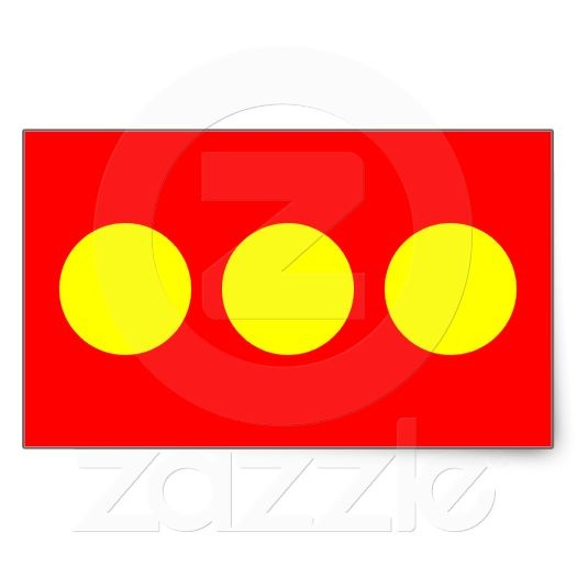 "Flag of Freetown #Christiana (Copenhagen) flag/stickers looks like #LEGO block, but rumor has it when the squatter (aka, hippies) were rummaging through old military base at Christiania they found (only red and yellow paint) and the 3 dots represent the 3 dotted ""i's"" in the word Christiania"