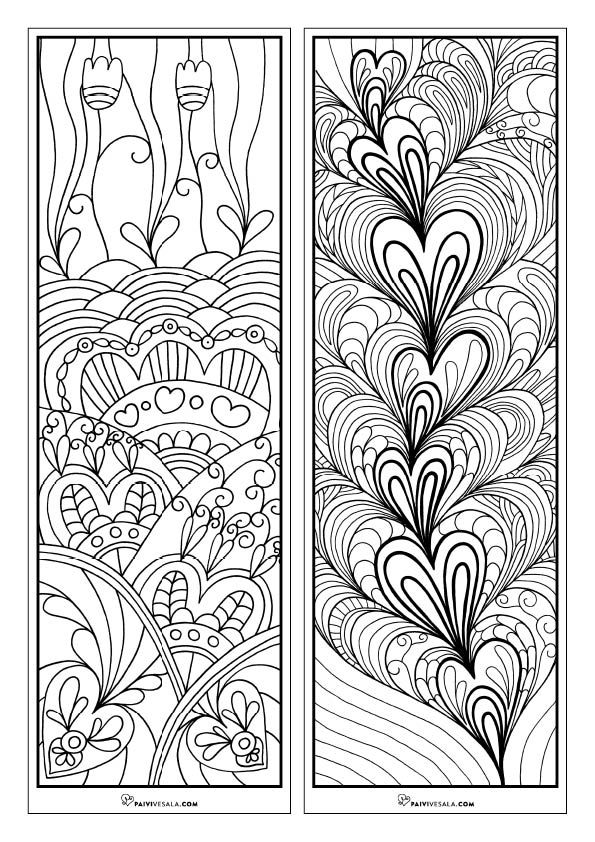 Print, color and share love - Free printable coloring bookmarks | Päivi Vesala - Mental Images coloring books