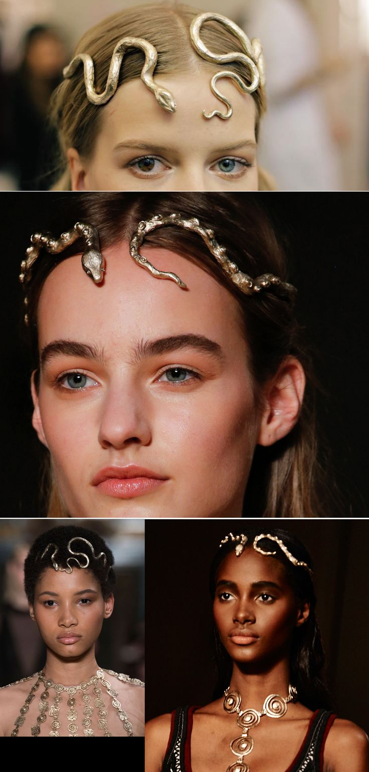 Snake headpieces, Valentino. Also the eyes of the first girl!!