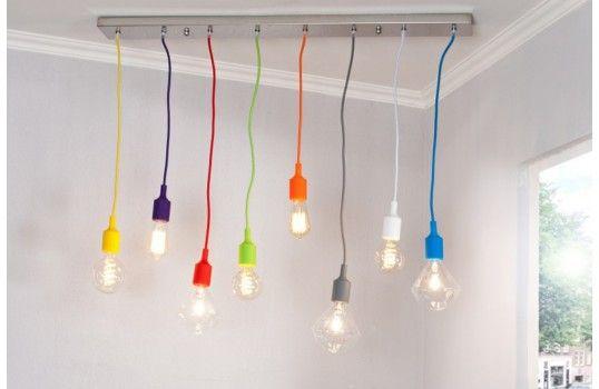 Lustre design 8 ampoules colorées
