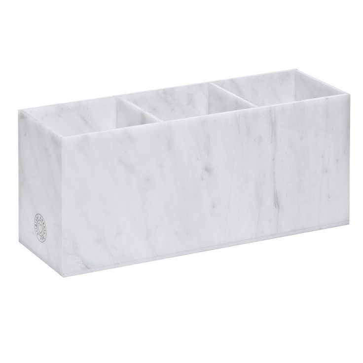 Introducing our Marble Collection! Give your makeup a luxury home in this acrylic organizer that looks just like Carrara marble. This three compartment organizer is designed to perfectly store all of