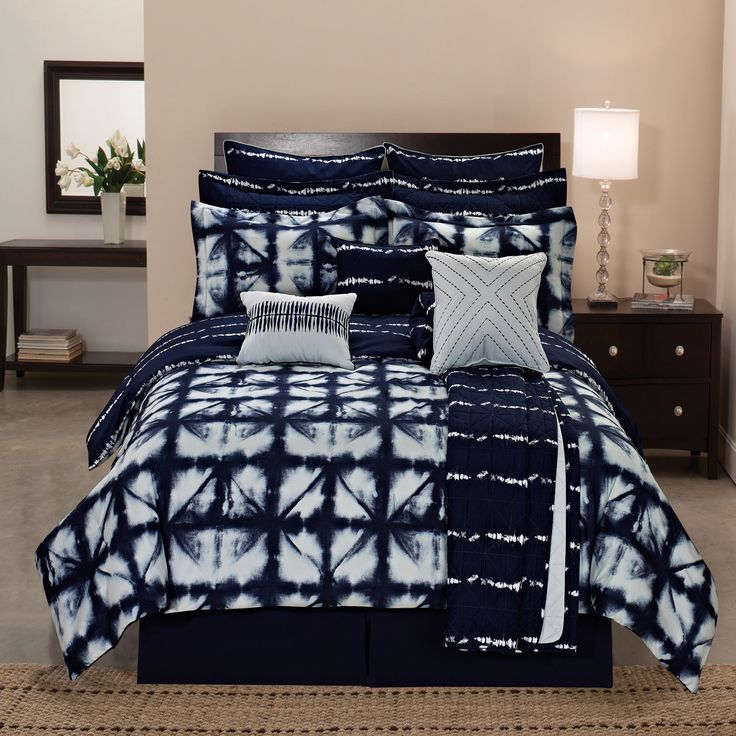 Carbon (Black) Loft Faraday Tie-dye Plaid Printed Reversible 12-piece Comforter ...