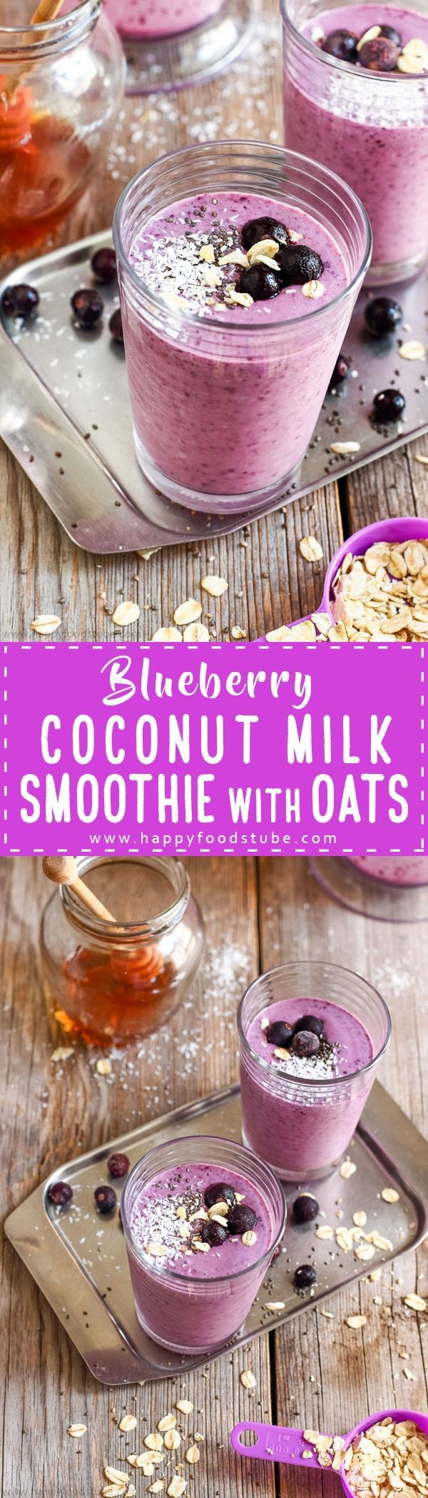 Homemade Blueberry Coconut Milk Smoothie is delicious breakfast drink and packed with antioxidants, protein, fiber, minerals and vitamins. Ready to go in just 5 minutes via /happyfoodstube/