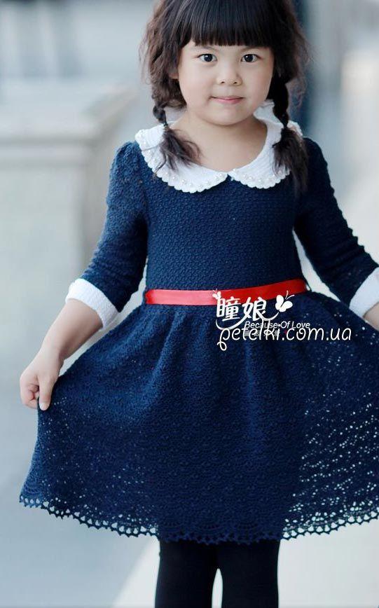 Платье для девочки елочкой крючком