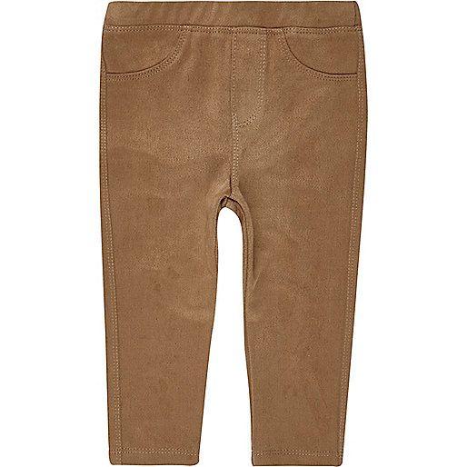 € 13,- Bruine legging van imitatiesuède voor mini girls - leggings voor babymeisjes - Broekjes voor babymeisjes - mini girls - meisjes