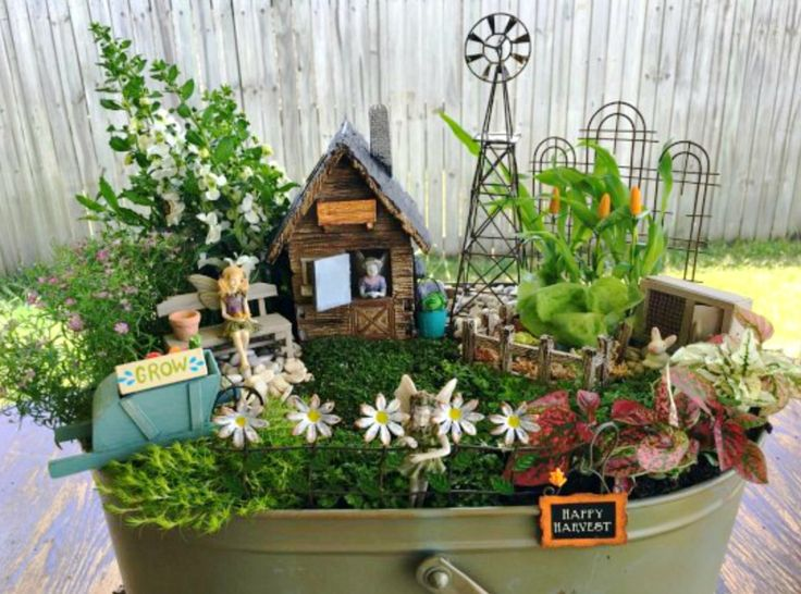 This Miniature Fairy Farm is easy to create and the kids can even grow some veggies in it! Try the Teacup Fairy Garden, Wheelbarrow Garden and Fairy Garden in an Old Chair as well.