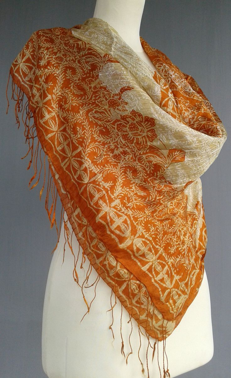 handprinted vintage shawl ~ orange silver lightweight beach wrap ~ girlfriend birthday ~ wedding style ~ woodblock handprint batik ~ sarong by JavaniceHandyCraft on Etsy
