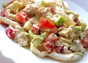 Gesunde gemischter Salat mit Hähnchenbrust. Hier finden Sie eine Rezept für gesunde leckere Salat zum Abnehmen. Je 100 g. enthalten nur 51 kcal!