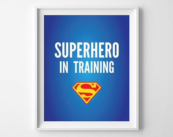 Superhero In Training Print, Superman Nursery Art, Superhero Nursery Decor, Superman Printable, Instant Download