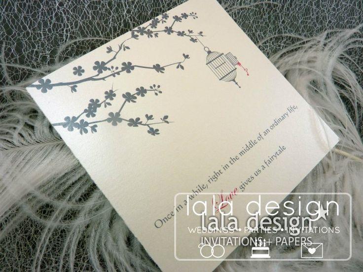 Birdcage graphic wedding invitation