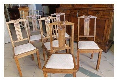 Gruppo n. 6 sedie Liberty fine 800 in castagno massello, restaurate Piemontesi !Seggiole poltrone.