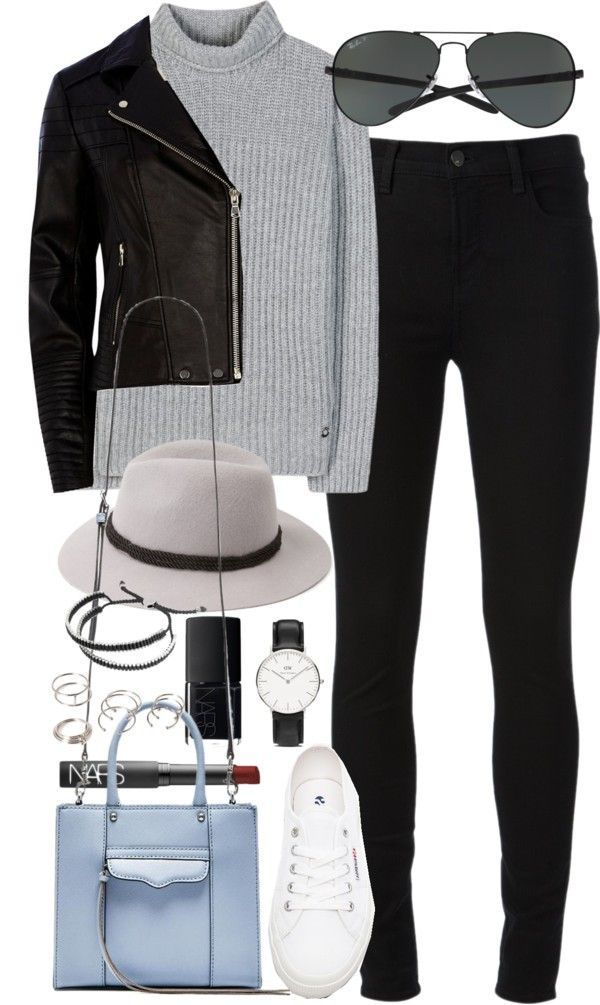 Outfit with a leather jacket by ferned featuring a black moto jacket Loro Piana cashmere turtleneck sweater, 2 640 AUD / River Island black moto jacket, 135 AUD / J Brand high rise skinny jeans / Superga white sneaker, 87 AUD / Rebecca Minkoff...