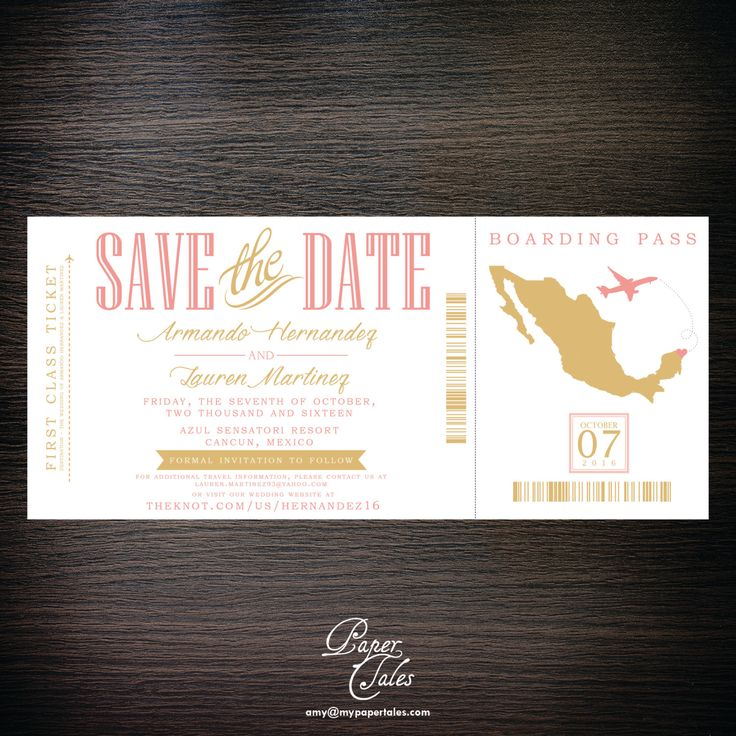destination wedding save the dates and invitations%0A Mint  Gold and Blush Pink  Riviera Maya  Mexico  Boarding Pass Destination  Wedding Invitation  DIGITAL by PaperTalesCustom on Etsy