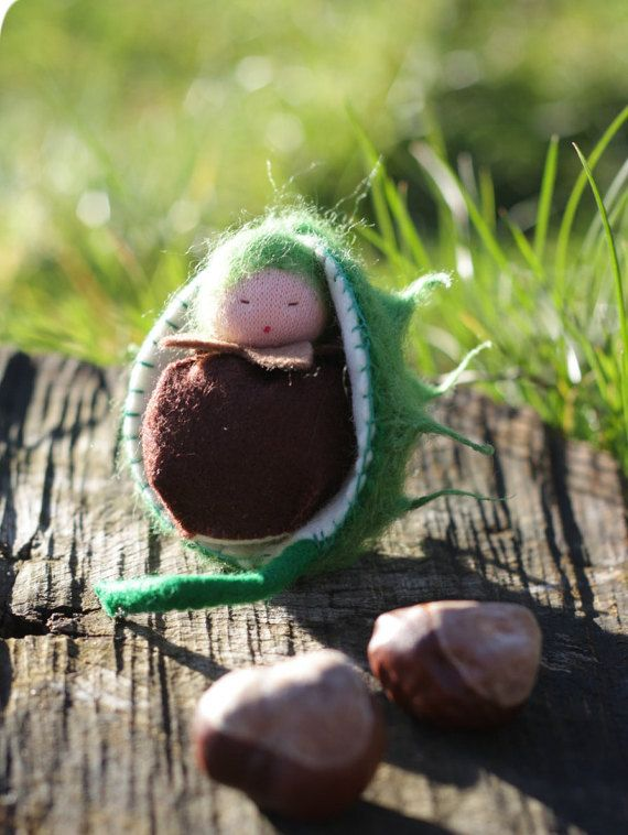 Chestnut  waldorf tree gnome  sewn from wool felt by ElodeaToys