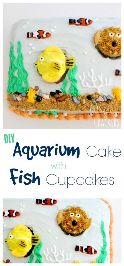 If you love the ocean, you have GOT to have this DIY Aquarium Cake and these fish cupcakes in your life! Simple cake decorating tutorial at the link! This is the perfect kid party cake.
