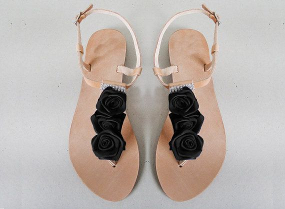 Sandals  Genuine leather sandals decorated with Black ribbon