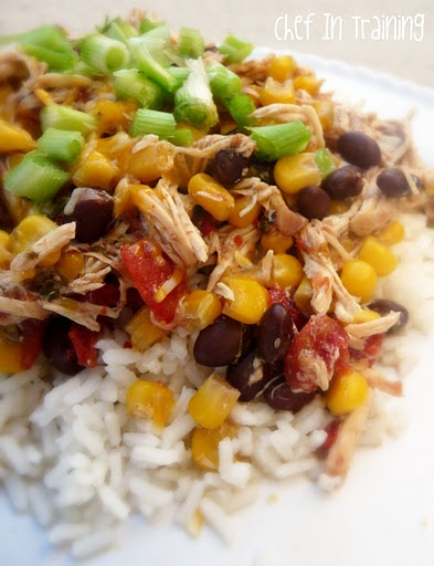Crock Pot Santa Fe Chicken- Delicious and so simple. Served this in tacos with fresh guacamole. It's just two of us so I froze half and still had plenty for leftovers.