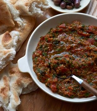 Moroccan spicy eggplant dip | Karen Martini     |     Organize and save your favourite recipes OFFLINE on your iPhone or iPad with @RecipeTin! Find out more here: www.recipetinapp.com      #recipes #vegan