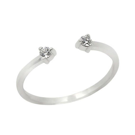 Diamonds Open Ring Double Stone Ring White diamonds Ring