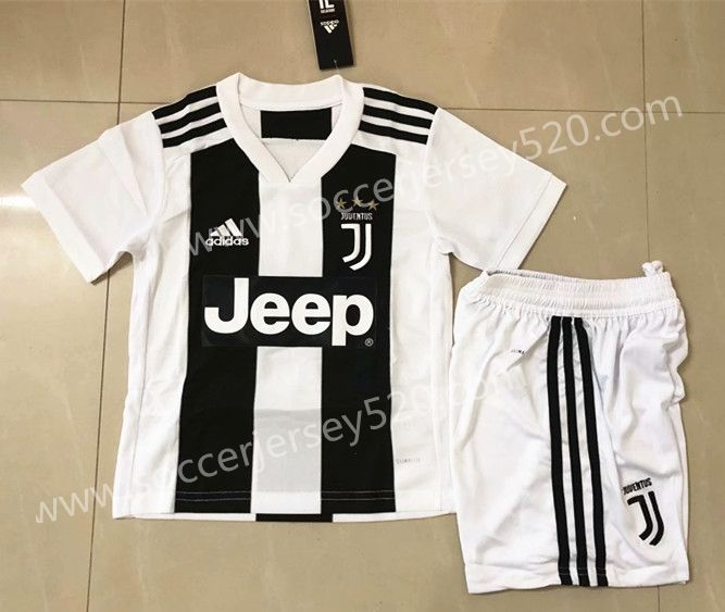 12e66f373 2018-19 Juventus Home White and Black Kids Youth Soccer Uniform ...