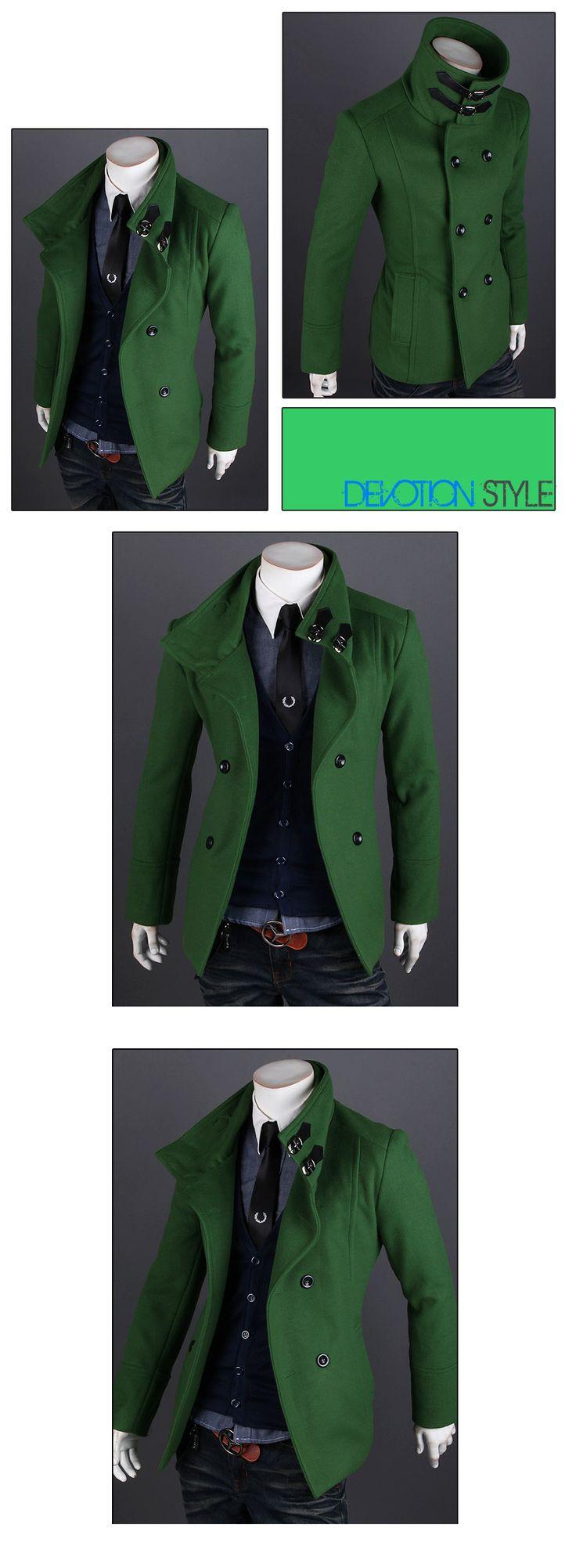 2013 New Arrival Winter Men's Double breasted Overcoat Single breasted Coat Short Design Woolen Wind Coat Men Slim Outerwear-inWool & Blends...