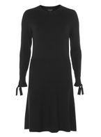 Womens Black Long Tie Sleeve Knitted Skater Dress- Black