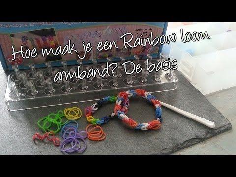 ▶ Hoe maak je een basis Regenboog loom armband? Diy. Met 1000 abbonees giveaway! - YouTube