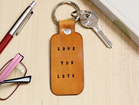 Handmade Love You Lots Keyring, Handmade Keyring, Leather Keyring. For Couples. Repin To Remember.  #loveyoulots, #love, #leatherkeyring, #handmadekeyring, #leatherkeyfob, #leatherkeychain