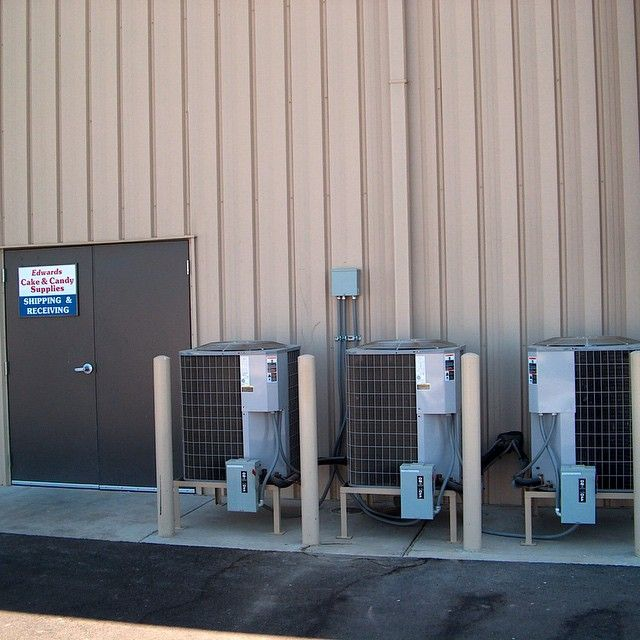 Completed Installation of Carrier Heat Pump Condensing Units at Edwards Cake & Candy Supplies, here in Modesto, CA!!!  Do you like what you see, call Valley Air Conditioning at (209) 524-7756 if your looking to install some new equipment.