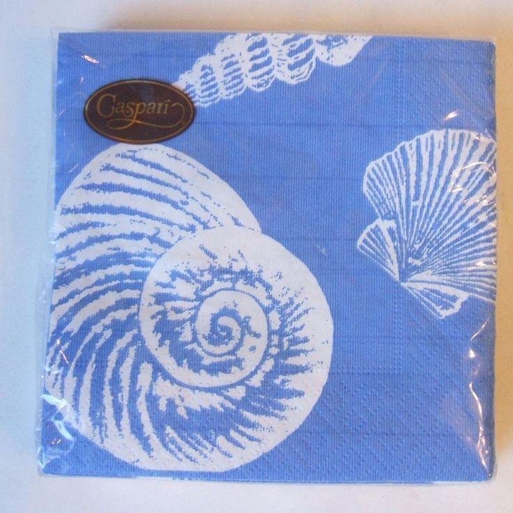 Caspari 3491C Sea Shells Ocean Blue Package of 20 Paper Cocktail Napkins 5 Inch #Caspari