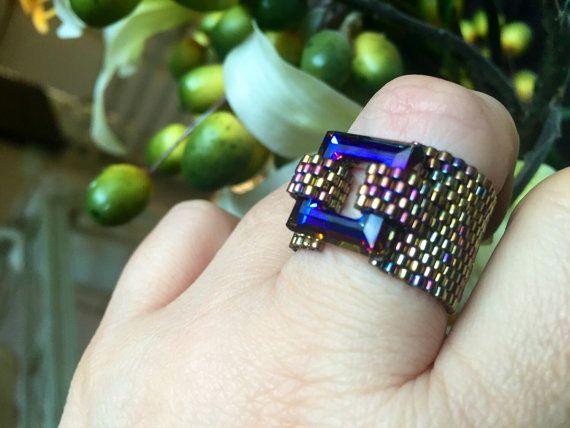 Swarovski anello anello di cristallo di di CovetAndDesire su Etsy