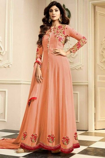 6ec5bd199 Shop Latest Designer Shilpa Shetty Peach Georgette Anarkali Suit ...