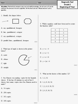 Math diagnostic test for fifth grade on the first day of school