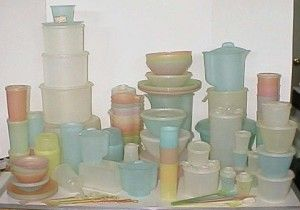 pastel Tupperware. Your Mom's Tupperware. This is what I grew up with!